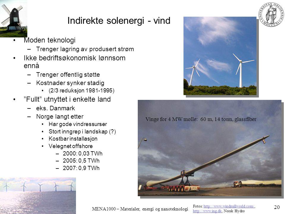 Indirekte solenergi - vind Moden teknologi –Trenger lagring av produsert strøm Ikke bedriftsøkonomisk lønnsom ennå –Trenger offentlig støtte –Kostnade