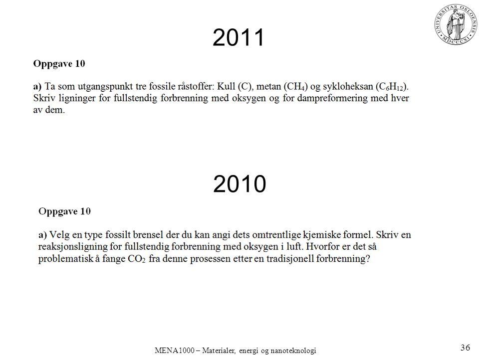 2011 2010 36 MENA1000 – Materialer, energi og nanoteknologi