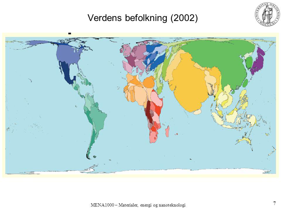 MENA1000 – Materialer, energi og nanoteknologi Verdens befolkning (2002) 7