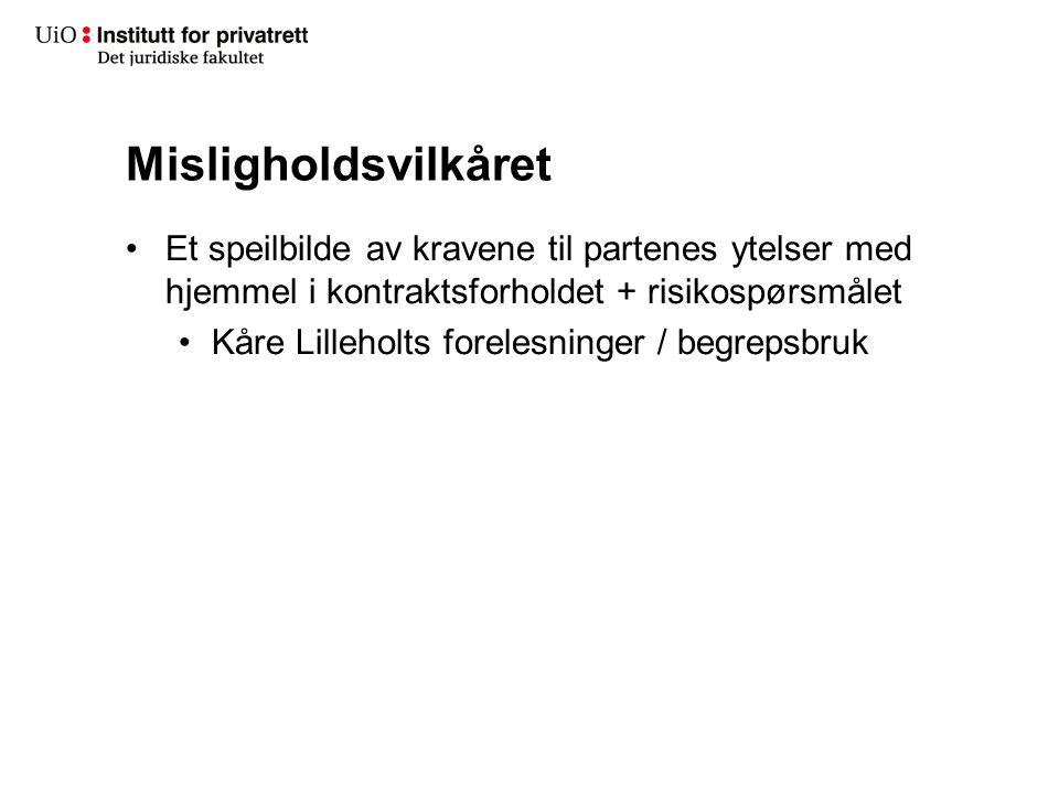 Misligholdsvilkåret Et speilbilde av kravene til partenes ytelser med hjemmel i kontraktsforholdet + risikospørsmålet Kåre Lilleholts forelesninger /