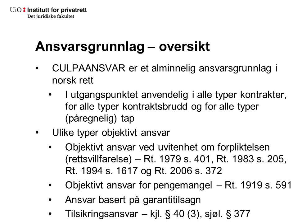 Ansvarsgrunnlag – oversikt CULPAANSVAR er et alminnelig ansvarsgrunnlag i norsk rett I utgangspunktet anvendelig i alle typer kontrakter, for alle typ