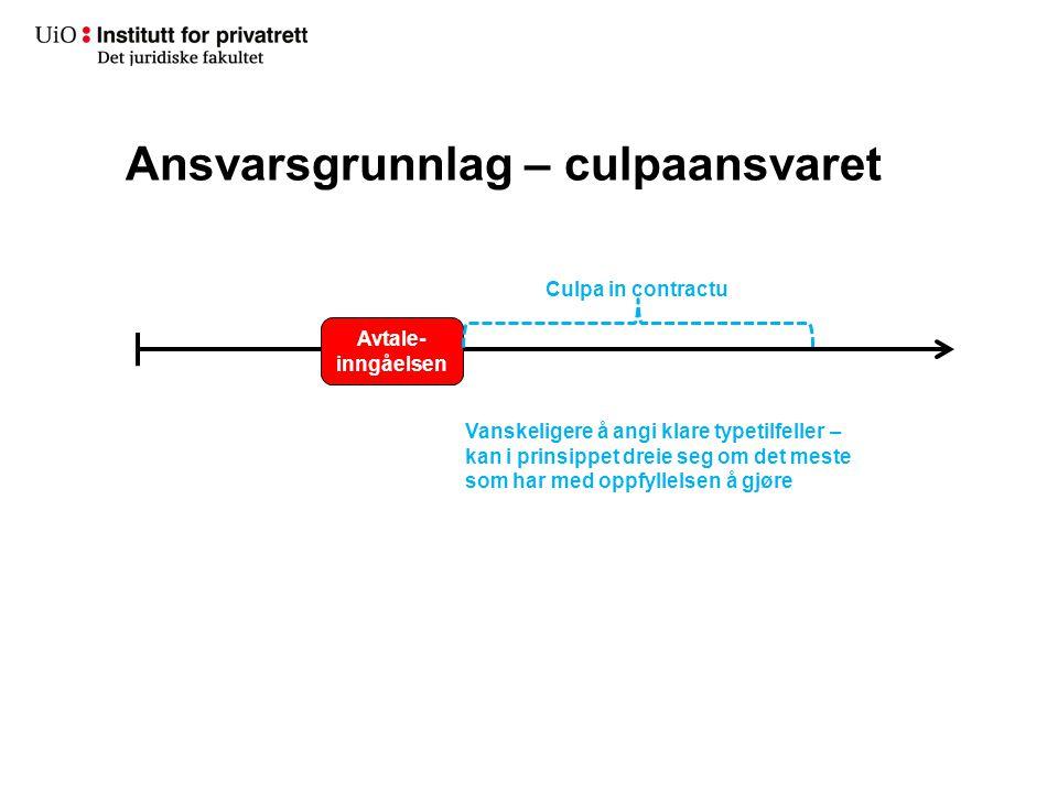 Ansvarsgrunnlag – culpaansvaret Avtale- inngåelsen Culpa in contractu Vanskeligere å angi klare typetilfeller – kan i prinsippet dreie seg om det mest