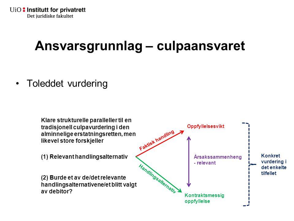 Ansvarsgrunnlag – culpaansvaret Klare strukturelle paralleller til en tradisjonell culpavurdering i den alminnelige erstatningsretten, men likevel sto