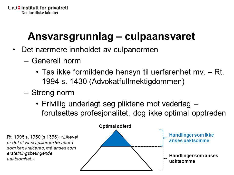 Ansvarsgrunnlag – culpaansvaret Det nærmere innholdet av culpanormen –Generell norm Tas ikke formildende hensyn til uerfarenhet mv. – Rt. 1994 s. 1430