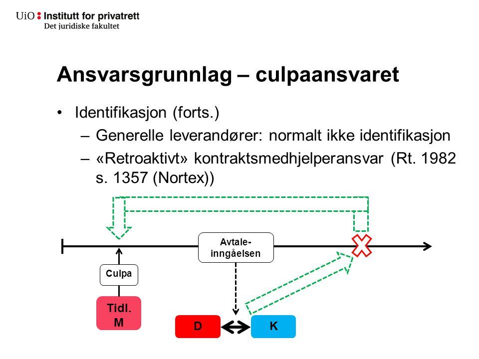 Ansvarsgrunnlag – culpaansvaret Identifikasjon (forts.) –Generelle leverandører: normalt ikke identifikasjon –«Retroaktivt» kontraktsmedhjelperansvar