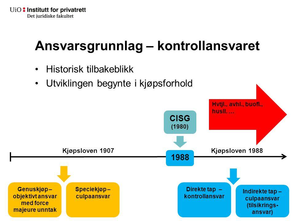 Ansvarsgrunnlag – kontrollansvaret Historisk tilbakeblikk Utviklingen begynte i kjøpsforhold 1988 Kjøpsloven 1907 Genuskjøp – objektivt ansvar med for