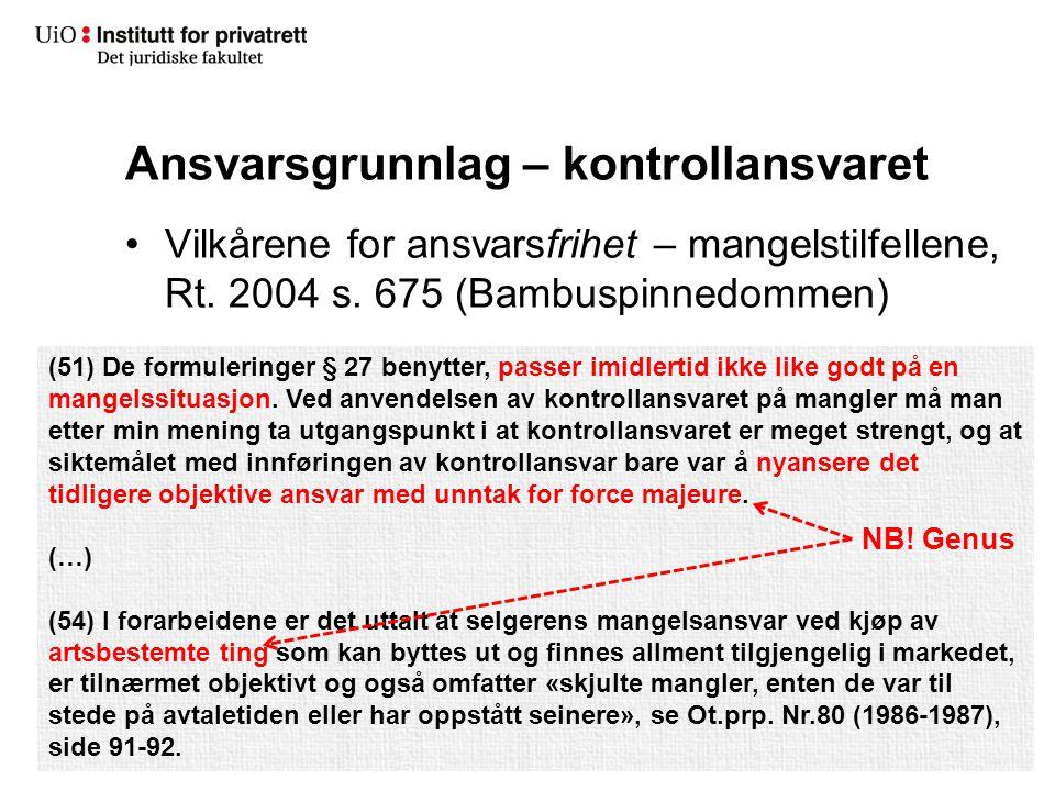Ansvarsgrunnlag – kontrollansvaret Vilkårene for ansvarsfrihet – mangelstilfellene, Rt. 2004 s. 675 (Bambuspinnedommen) (51) De formuleringer § 27 ben