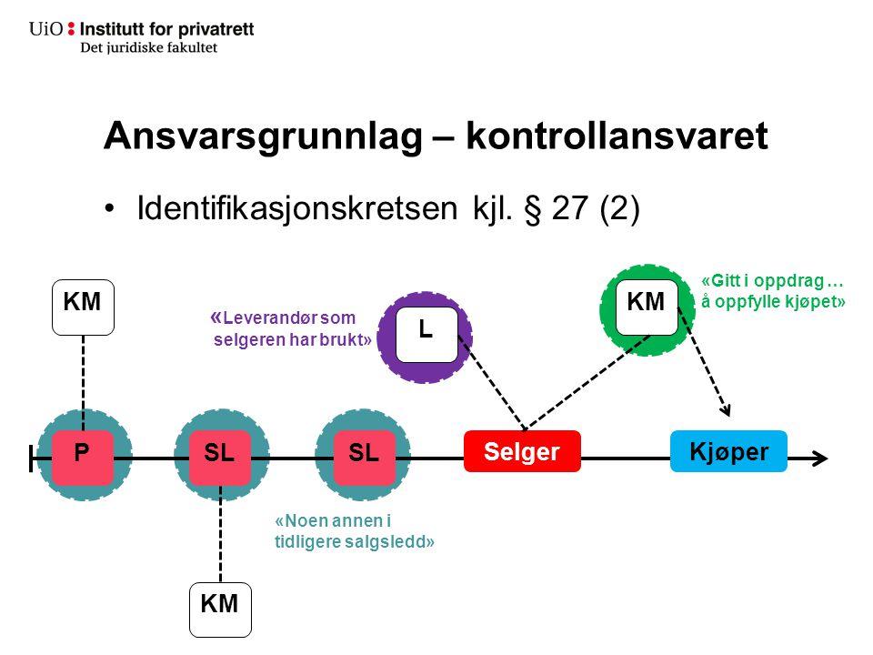 Ansvarsgrunnlag – kontrollansvaret Identifikasjonskretsen kjl. § 27 (2) SelgerKjøper SL P KM L « Leverandør som selgeren har brukt» «Noen annen i tidl