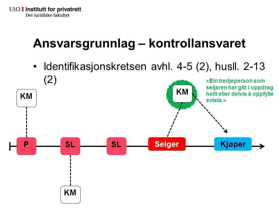 Ansvarsgrunnlag – kontrollansvaret Identifikasjonskretsen avhl. 4-5 (2), husll. 2-13 (2) SelgerKjøper SL P KM «Ein tredjeperson som seljaren har gitt