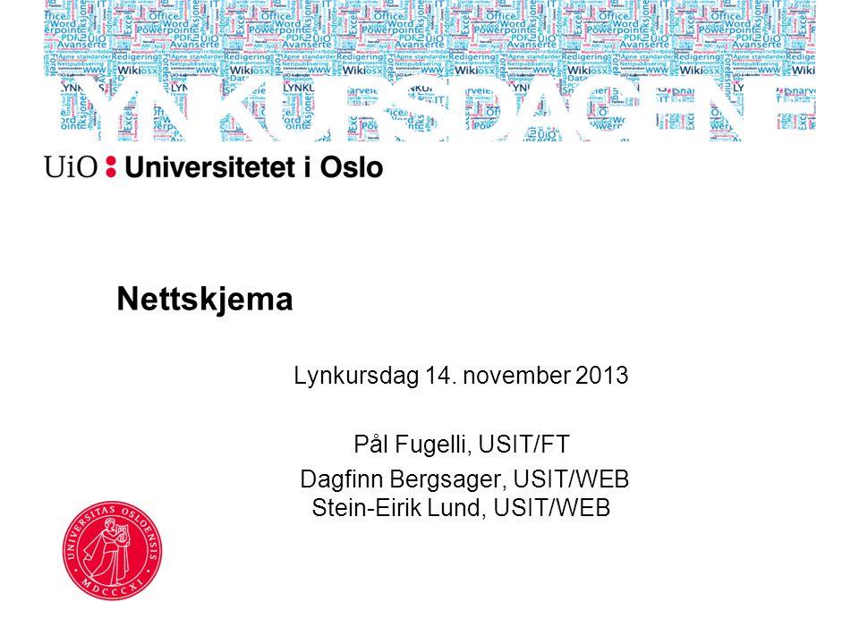 Nettskjema Lynkursdag 14. november 2013 Pål Fugelli, USIT/FT Dagfinn Bergsager, USIT/WEB Stein-Eirik Lund, USIT/WEB