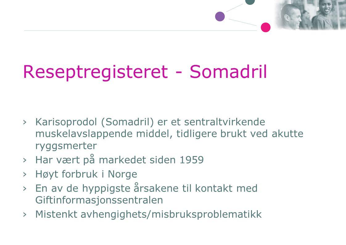 Reseptregisteret - Somadril ›Karisoprodol (Somadril) er et sentraltvirkende muskelavslappende middel, tidligere brukt ved akutte ryggsmerter ›Har vært