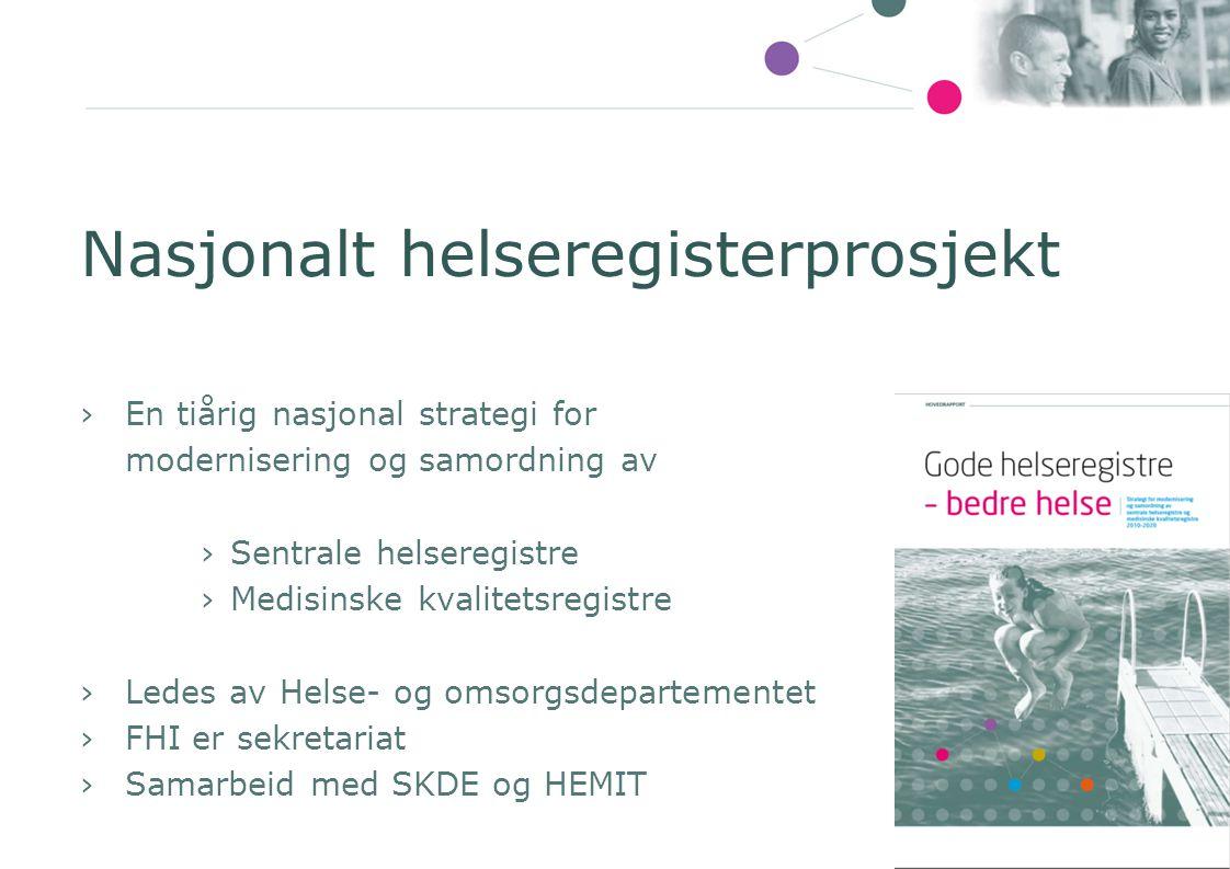 Nasjonalt helseregisterprosjekt ›En tiårig nasjonal strategi for modernisering og samordning av ›Sentrale helseregistre ›Medisinske kvalitetsregistre