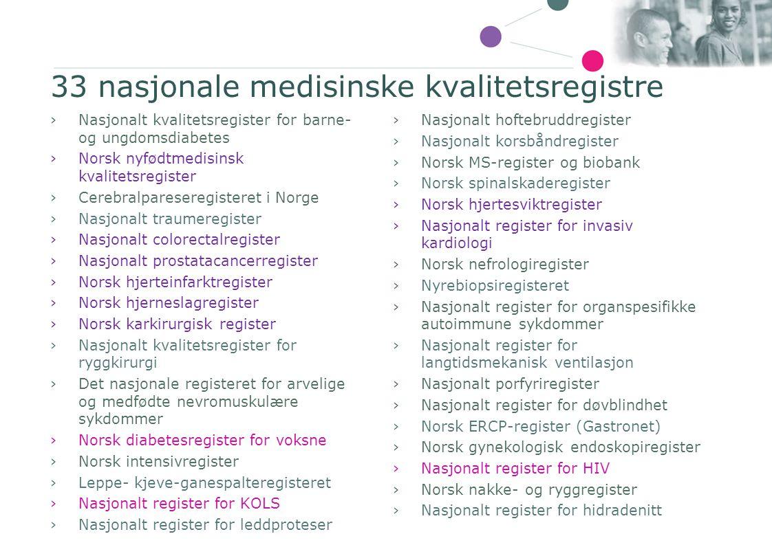 ›Nasjonalt kvalitetsregister for barne- og ungdomsdiabetes ›Norsk nyfødtmedisinsk kvalitetsregister ›Cerebralpareseregisteret i Norge ›Nasjonalt traum