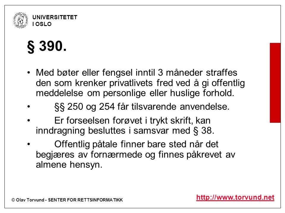 © Olav Torvund - SENTER FOR RETTSINFORMATIKK UNIVERSITETET I OSLO http://www.torvund.net § 390.