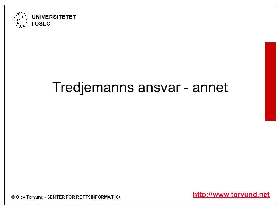 © Olav Torvund - SENTER FOR RETTSINFORMATIKK UNIVERSITETET I OSLO http://www.torvund.net Tredjemanns ansvar - annet