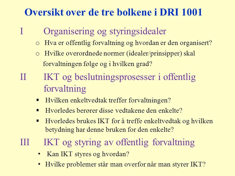 Oversikt over de tre bolkene i DRI 1001 IOrganisering og styringsidealer o Hva er offentlig forvaltning og hvordan er den organisert.