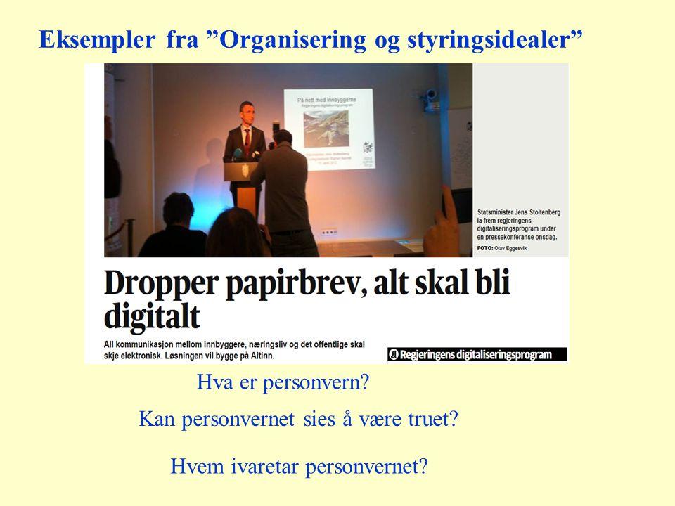 """Eksempler fra """"Organisering og styringsidealer"""" Hva er personvern? Hvem ivaretar personvernet? Kan personvernet sies å være truet?"""