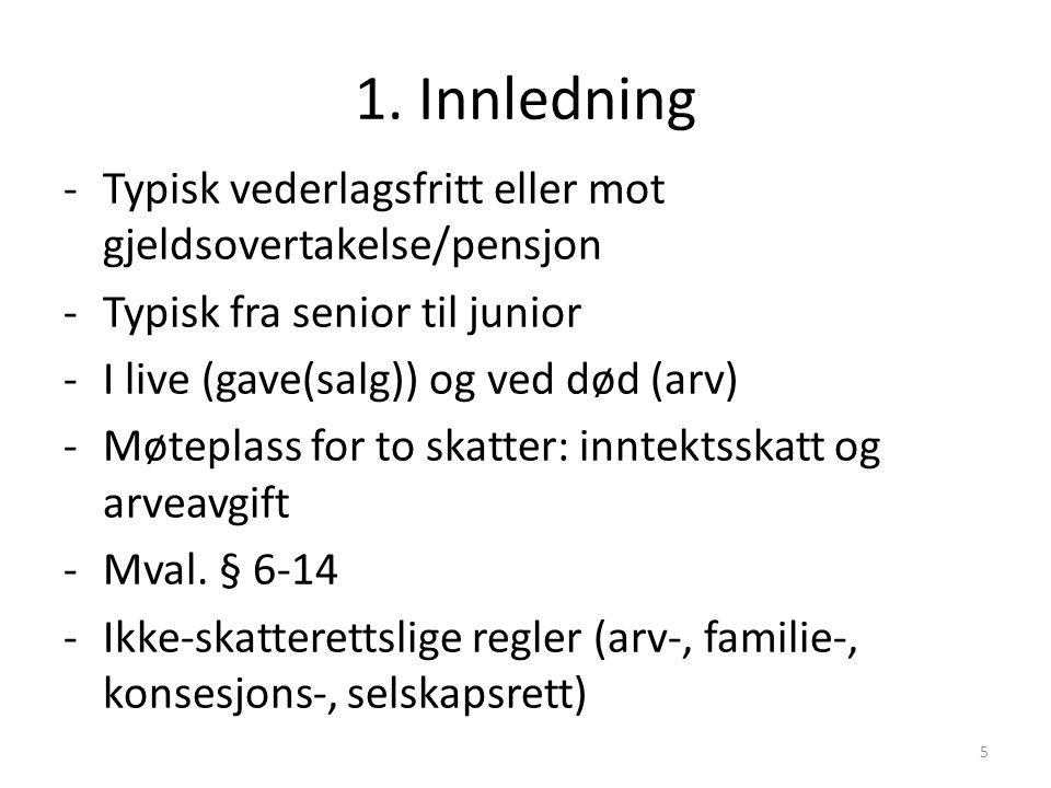 1. Innledning -Typisk vederlagsfritt eller mot gjeldsovertakelse/pensjon -Typisk fra senior til junior -I live (gave(salg)) og ved død (arv) -Møteplas