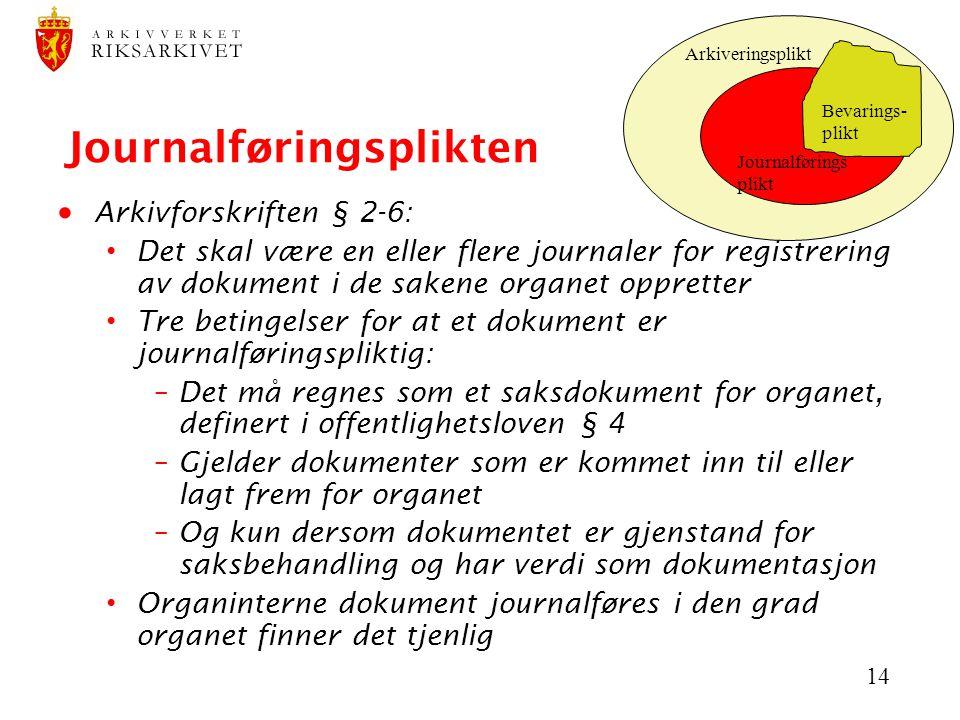 14 Journalføringsplikten  Arkivforskriften § 2-6: Det skal være en eller flere journaler for registrering av dokument i de sakene organet oppretter T