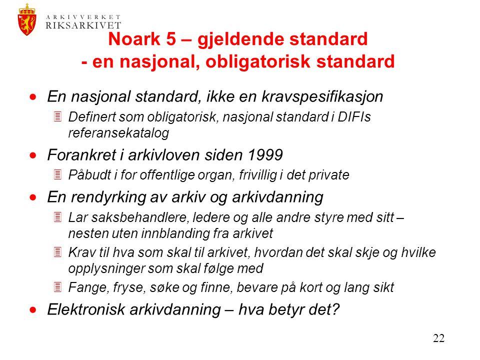 22 Noark 5 – gjeldende standard - en nasjonal, obligatorisk standard  En nasjonal standard, ikke en kravspesifikasjon 3Definert som obligatorisk, nas