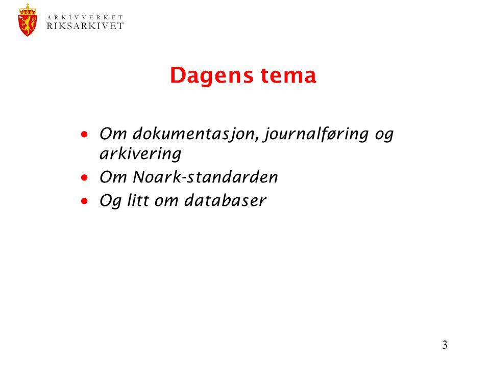 3 Dagens tema  Om dokumentasjon, journalføring og arkivering  Om Noark-standarden  Og litt om databaser