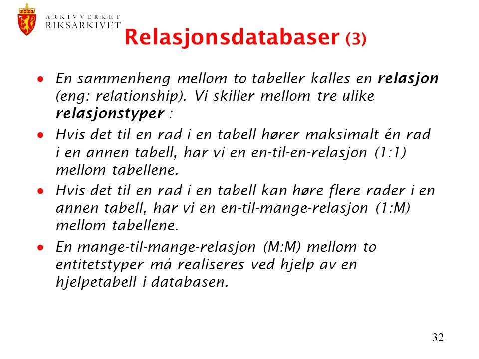 32 Relasjonsdatabaser (3)  En sammenheng mellom to tabeller kalles en relasjon (eng: relationship). Vi skiller mellom tre ulike relasjonstyper :  Hv
