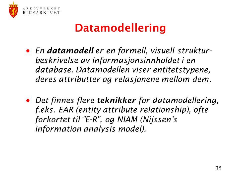 35 Datamodellering  En datamodell er en formell, visuell struktur- beskrivelse av informasjonsinnholdet i en database. Datamodellen viser entitetstyp