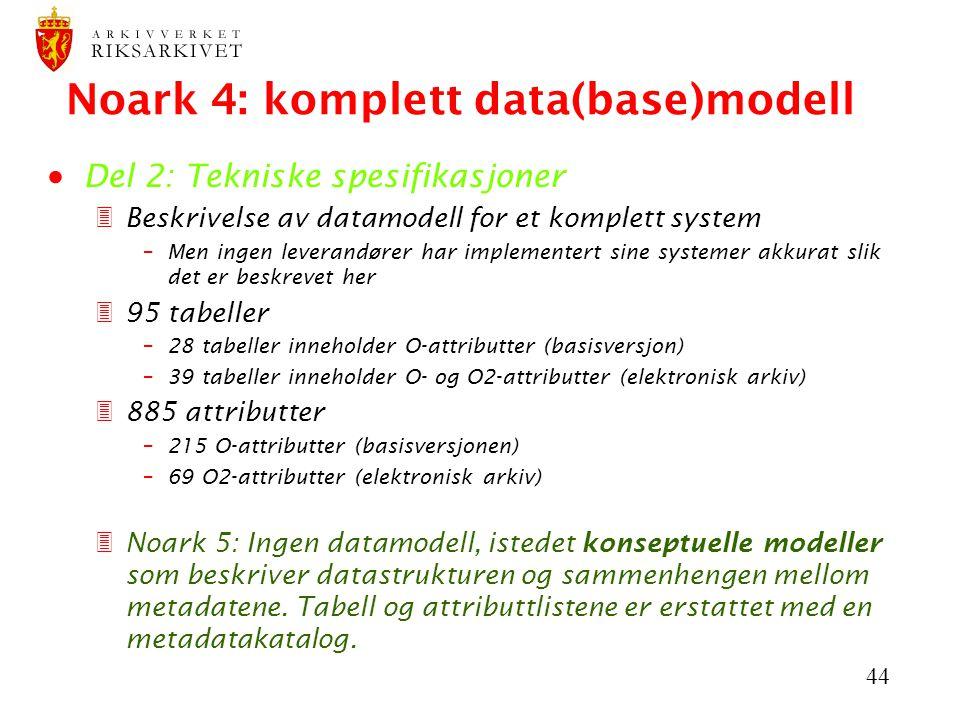 44 Noark 4: komplett data(base)modell  Del 2: Tekniske spesifikasjoner 3Beskrivelse av datamodell for et komplett system –Men ingen leverandører har implementert sine systemer akkurat slik det er beskrevet her 395 tabeller –28 tabeller inneholder O-attributter (basisversjon)  –39 tabeller inneholder O- og O2-attributter (elektronisk arkiv) 3885 attributter –215 O-attributter (basisversjonen)  –69 O2-attributter (elektronisk arkiv)  3Noark 5: Ingen datamodell, istedet konseptuelle modeller som beskriver datastrukturen og sammenhengen mellom metadatene.