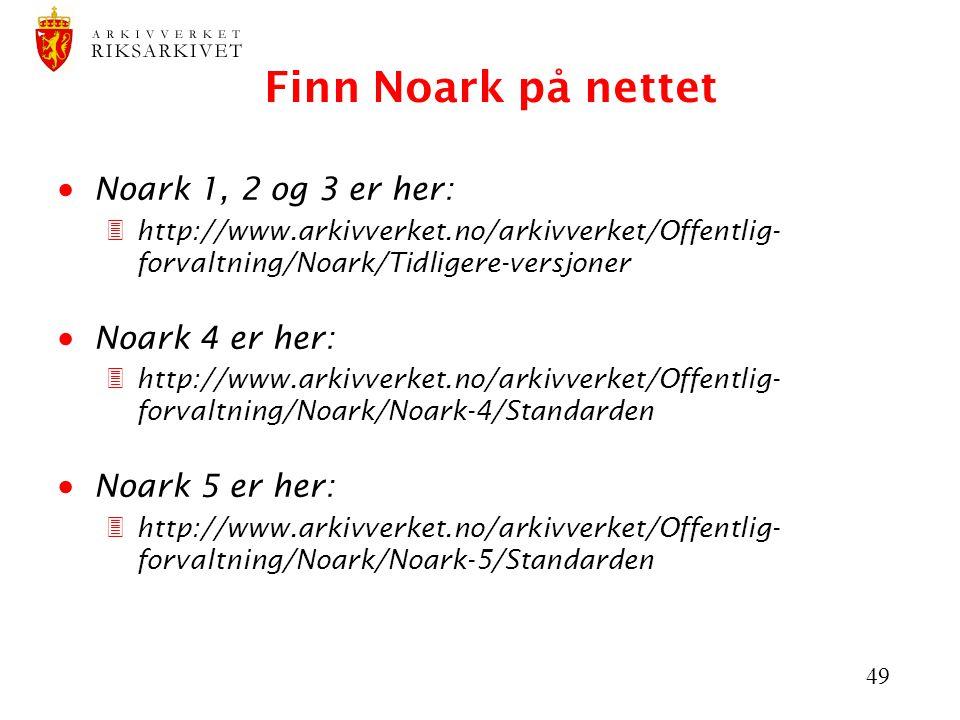 49 Finn Noark på nettet  Noark 1, 2 og 3 er her: 3http://www.arkivverket.no/arkivverket/Offentlig- forvaltning/Noark/Tidligere-versjoner  Noark 4 er her: 3http://www.arkivverket.no/arkivverket/Offentlig- forvaltning/Noark/Noark-4/Standarden  Noark 5 er her: 3http://www.arkivverket.no/arkivverket/Offentlig- forvaltning/Noark/Noark-5/Standarden