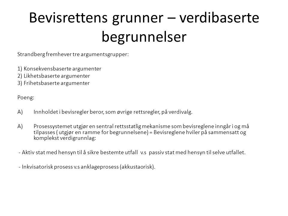 Bevisrettens grunner – verdibaserte begrunnelser Strandberg fremhever tre argumentsgrupper: 1) Konsekvensbaserte argumenter 2) Likhetsbaserte argument