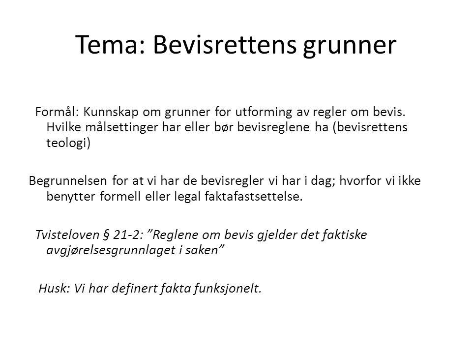 Tema: Bevisrettens grunner Formål: Kunnskap om grunner for utforming av regler om bevis.