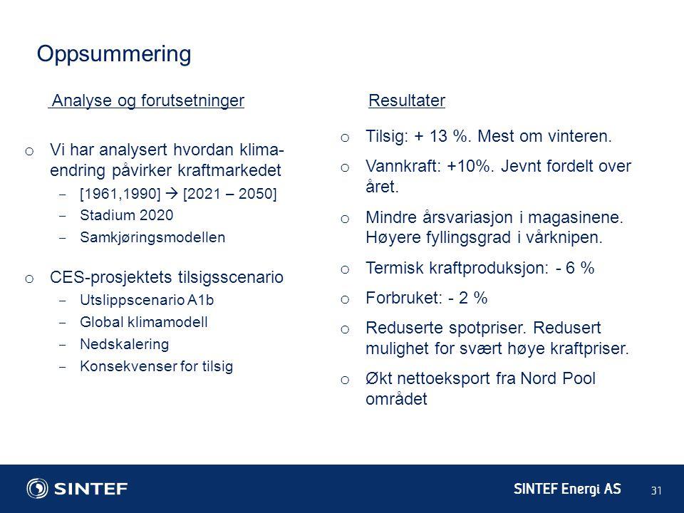 SINTEF Energi AS 31 Analyse og forutsetninger o Vi har analysert hvordan klima- endring påvirker kraftmarkedet ‒ [1961,1990]  [2021 – 2050] ‒ Stadium