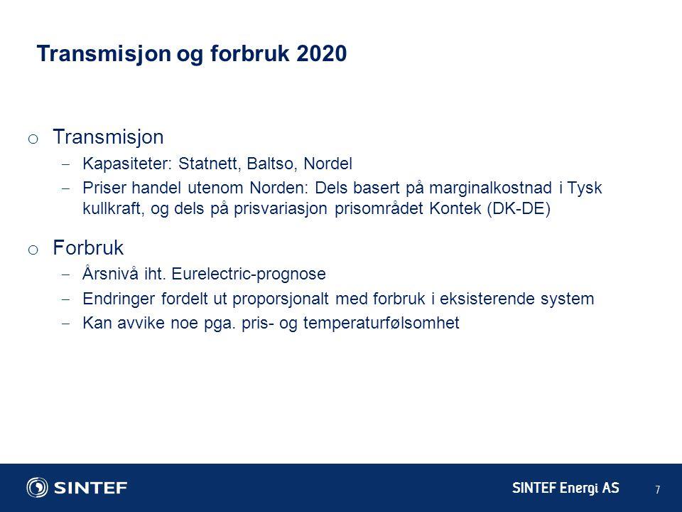 SINTEF Energi AS 7 Transmisjon og forbruk 2020 o Transmisjon ‒ Kapasiteter: Statnett, Baltso, Nordel ‒ Priser handel utenom Norden: Dels basert på mar