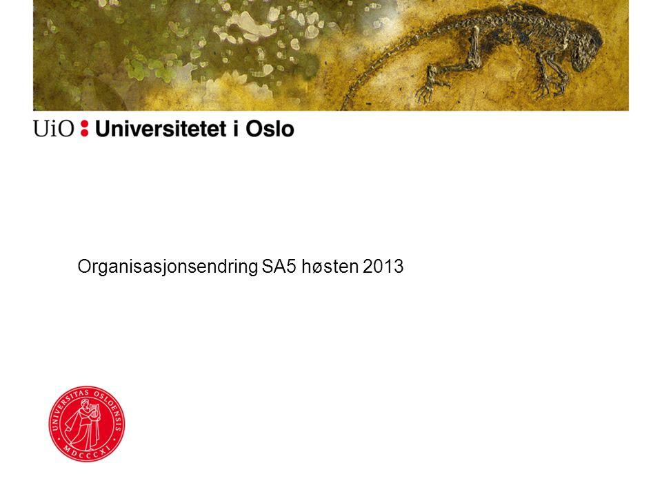 Organisasjonsendring SA5 høsten 2013