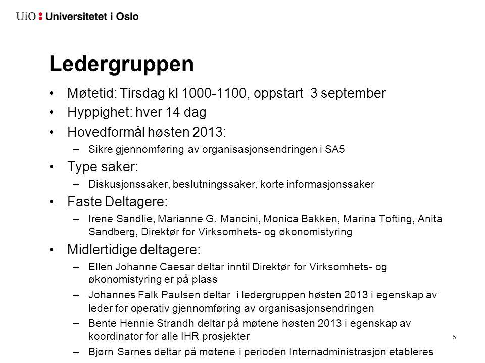 Ledergruppen Møtetid: Tirsdag kl 1000-1100, oppstart 3 september Hyppighet: hver 14 dag Hovedformål høsten 2013: –Sikre gjennomføring av organisasjons