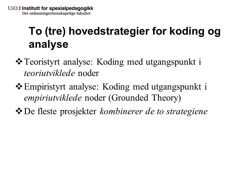  Teoristyrt analyse: Koding med utgangspunkt i teoriutviklede noder  Empiristyrt analyse: Koding med utgangspunkt i empiriutviklede noder (Grounded Theory)  De fleste prosjekter kombinerer de to strategiene To (tre) hovedstrategier for koding og analyse