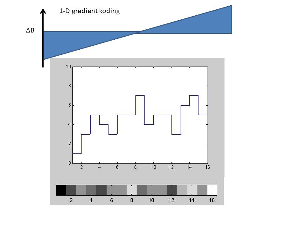∆B 1-D gradient koding ∆B=G(x-N/2) x Magnetiserings-vektoren: I diskret form (N=16):