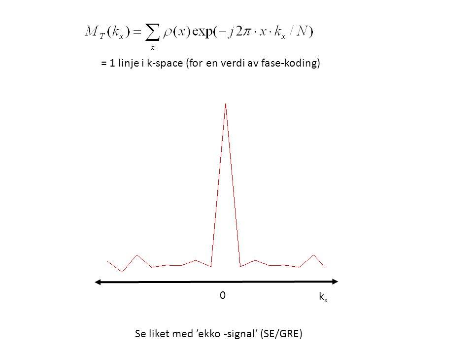 = 1 linje i k-space (for en verdi av fase-koding) Se liket med 'ekko -signal' (SE/GRE) kxkx 0