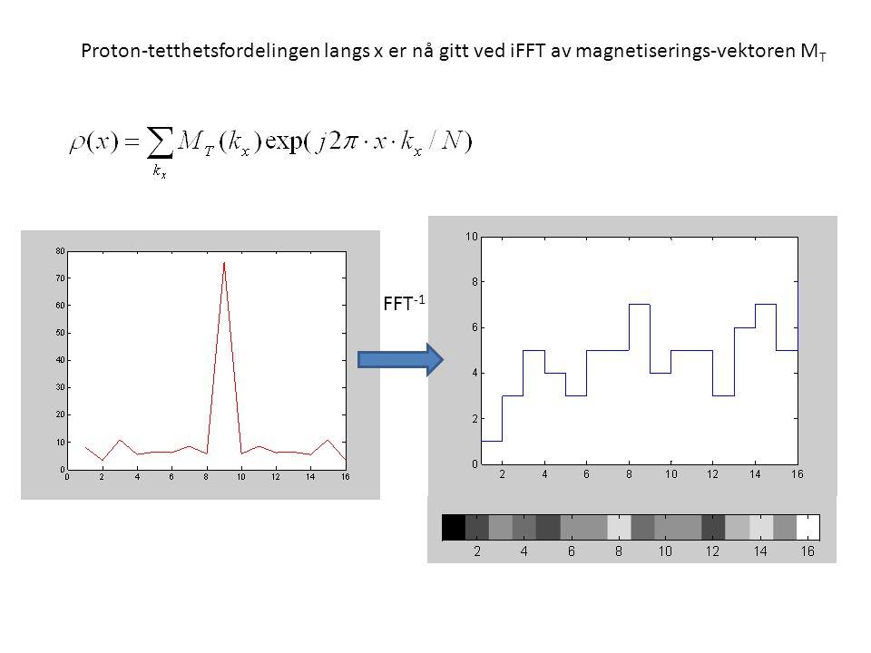 FFT -1 Proton-tetthetsfordelingen langs x er nå gitt ved iFFT av magnetiserings-vektoren M T