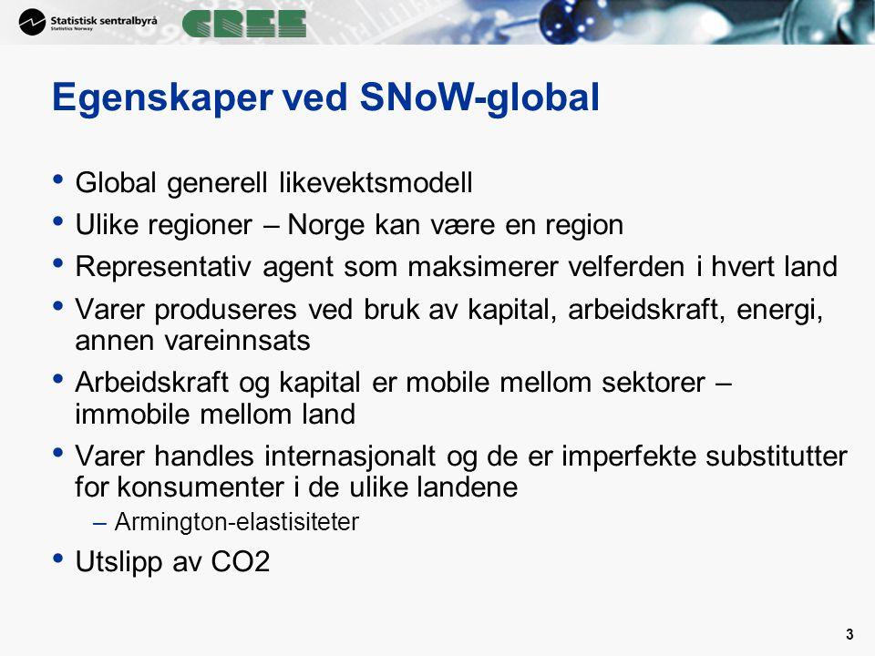 3 Egenskaper ved SNoW-global Global generell likevektsmodell Ulike regioner – Norge kan være en region Representativ agent som maksimerer velferden i