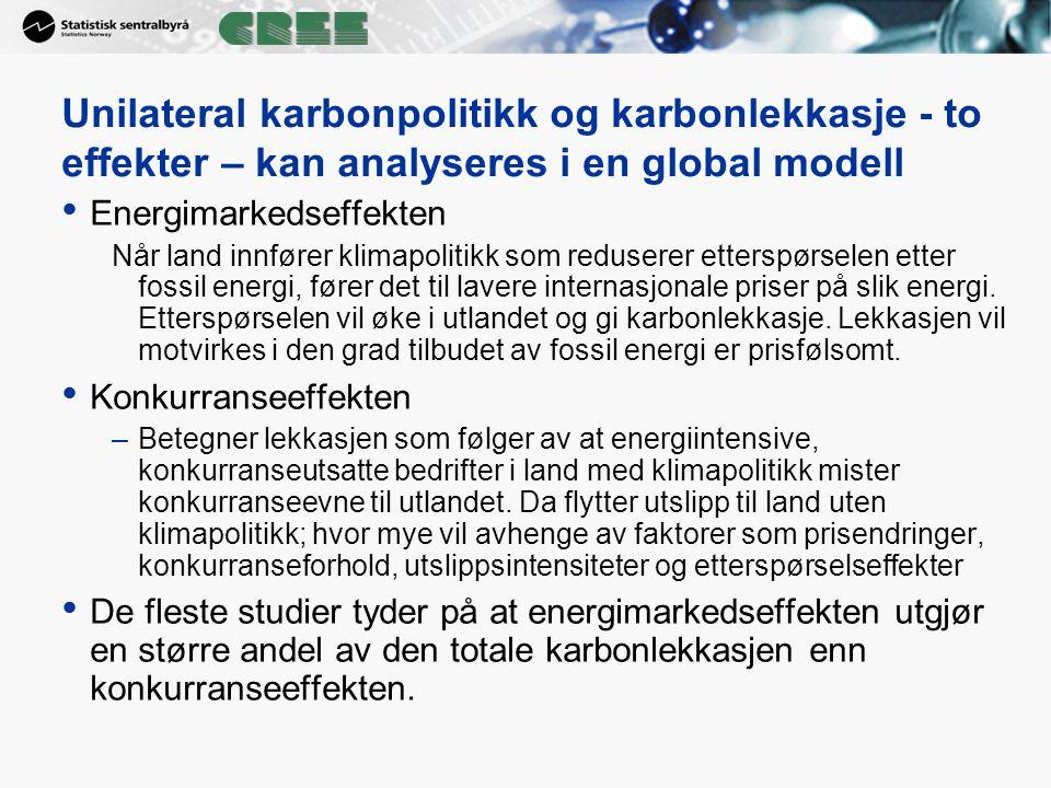 Unilateral karbonpolitikk og karbonlekkasje - to effekter – kan analyseres i en global modell Energimarkedseffekten Når land innfører klimapolitikk so