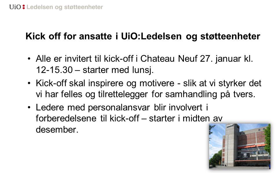 Kick off for ansatte i UiO:Ledelsen og støtteenheter Alle er invitert til kick-off i Chateau Neuf 27.