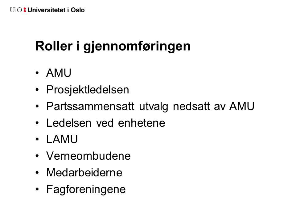 Roller i gjennomføringen AMU Prosjektledelsen Partssammensatt utvalg nedsatt av AMU Ledelsen ved enhetene LAMU Verneombudene Medarbeiderne Fagforening