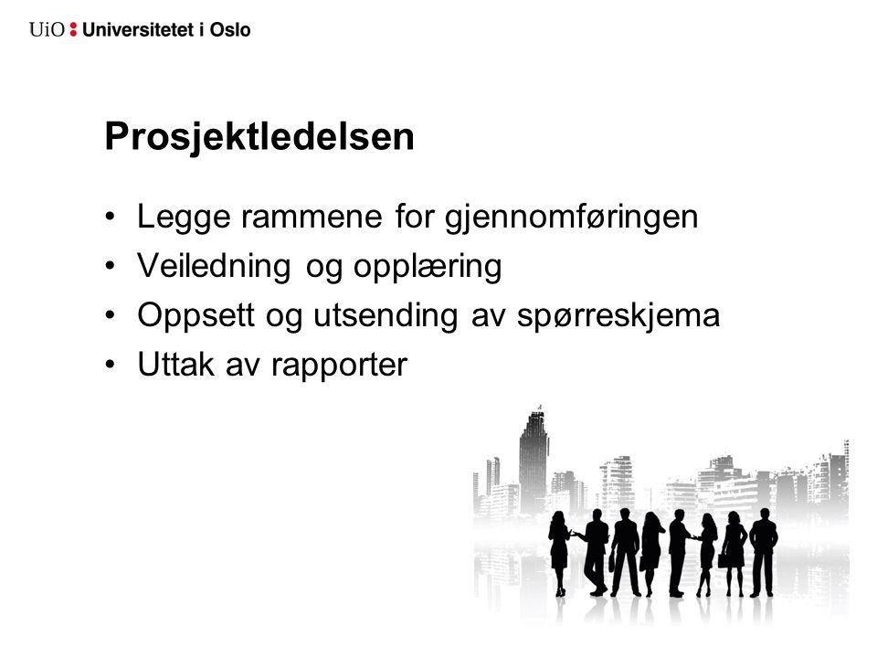 Prosjektledelsen Legge rammene for gjennomføringen Veiledning og opplæring Oppsett og utsending av spørreskjema Uttak av rapporter
