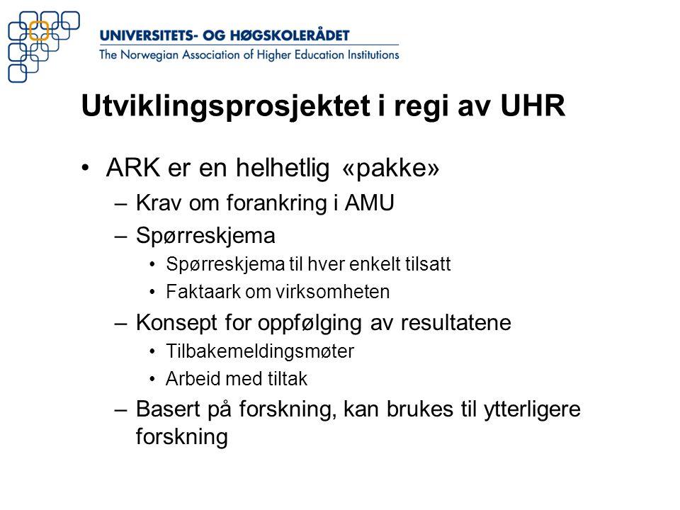 Utviklingsprosjektet i regi av UHR ARK er en helhetlig «pakke» –Krav om forankring i AMU –Spørreskjema Spørreskjema til hver enkelt tilsatt Faktaark o