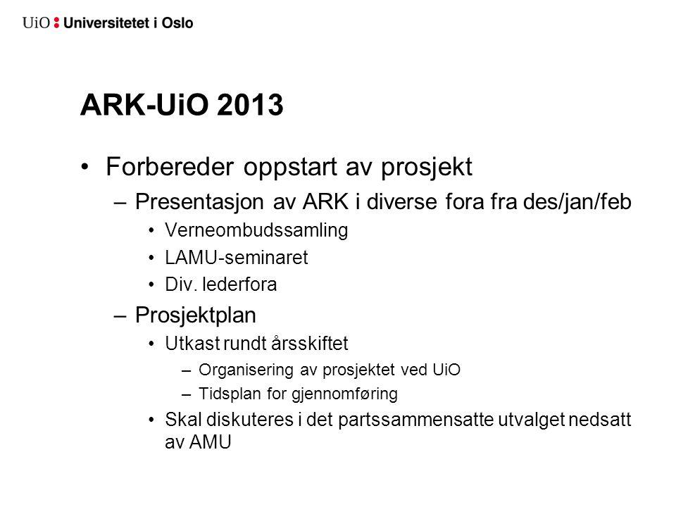 ARK-UiO 2013 Forbereder oppstart av prosjekt –Presentasjon av ARK i diverse fora fra des/jan/feb Verneombudssamling LAMU-seminaret Div. lederfora –Pro