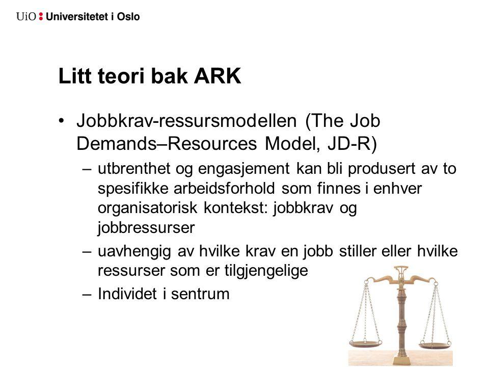Litt teori bak ARK Jobbkrav-ressursmodellen (The Job Demands–Resources Model, JD-R) –utbrenthet og engasjement kan bli produsert av to spesifikke arbe
