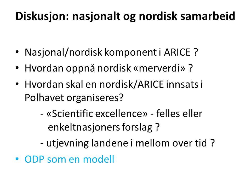 Diskusjon: nasjonalt og nordisk samarbeid Nasjonal/nordisk komponent i ARICE .