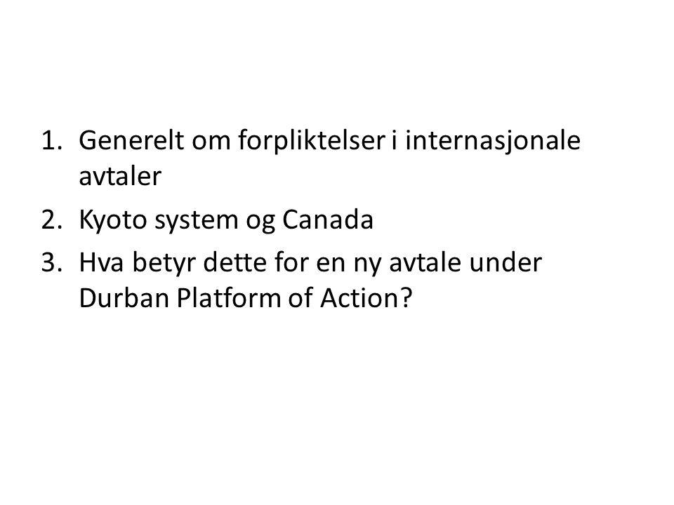 1.Generelt om forpliktelser i internasjonale avtaler 2.Kyoto system og Canada 3.Hva betyr dette for en ny avtale under Durban Platform of Action
