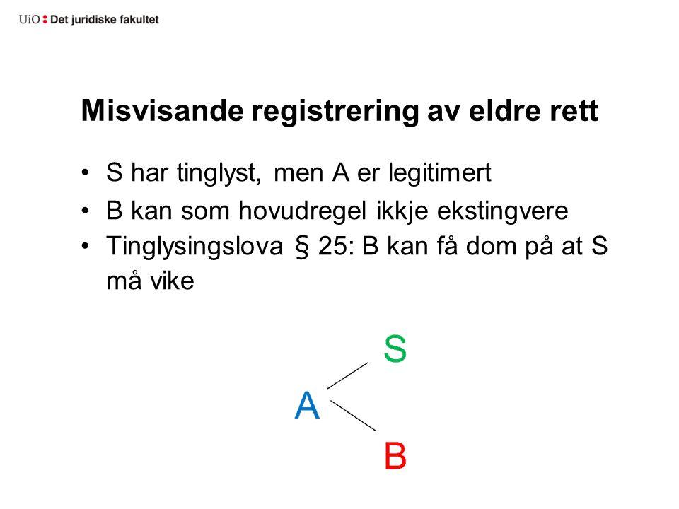Misvisande registrering av eldre rett S har tinglyst, men A er legitimert B kan som hovudregel ikkje ekstingvere Tinglysingslova § 25: B kan få dom på